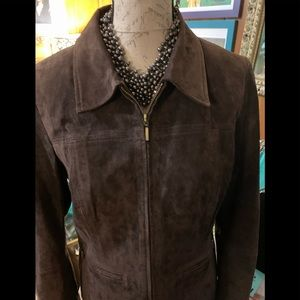 Liz Claiborne dark brown suede front zipper.